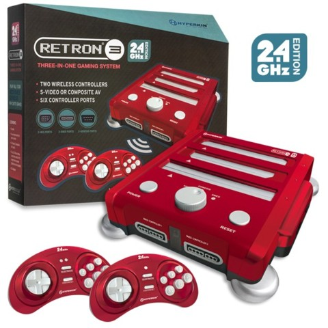 (Hyperkin) RetroN 3 Gaming Console 2.4 GHz Edition for SNES/ Genesis/ NES (Laser Red)