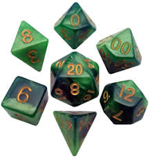 Mini Polyhedral Dice Set - Green/LTgreen W/ Gold
