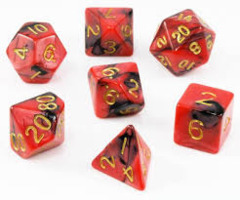 Mini Polyhedral Dice Set - Red/Black W/ Gold