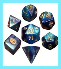 Mini Polyhedral Dice Set - Dark Blue/Light Blue w/Gold