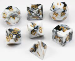 Mini Polyhedral Dice Set - Black/Marble W/ Gold