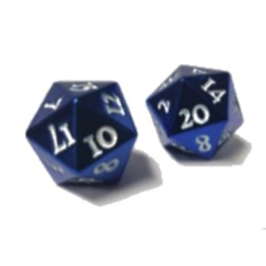 Ultra Pro - Heavy Metal Dice D20: Set Of 2 -Blue With White Numbers