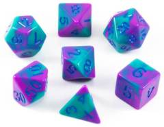 Mini Polyhedral Dice Set - Purple/Teal W/ blue