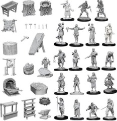 Townspeople & accessories - Wizkids Unpainted Miniatures (73698)