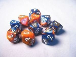 Gemini Blue-Orange w/White D10 Set (10) CHX 26252