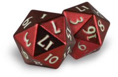 Ultra Pro - Heavy Metal Dice D20: Set Of 2 - Red With White Numbers