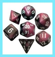 Mini Polyhedral Dice Set - Pink/Black w/White