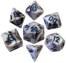 Mini Polyhedral Dice Set - Black/Marble W Blue