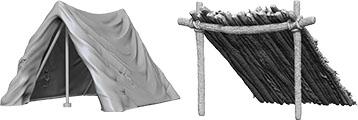 WizKids Deep Cuts Unpainted Miniatures: W10 Tent & Lean-To