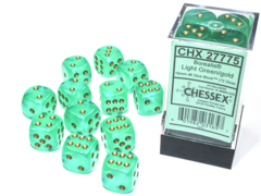 12 Borealis Light Green/Gold Luminary 16mm D6 Dice Block - CHX27775