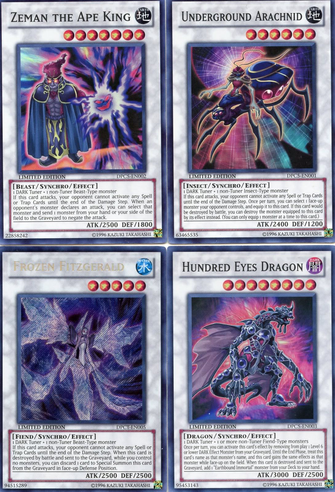 Hundred Eyes Dragon, Zeman Ape King, Underground Arachnid & Frozen Fitzgerald