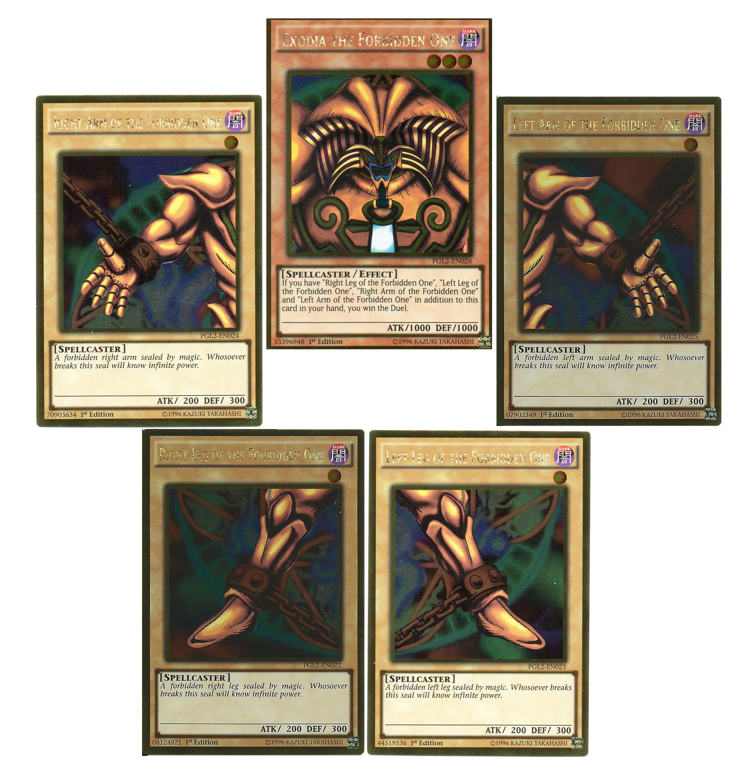 YuGiOh Exodia the Forbidden One Full Card Set Premium Gold Return of the Bling Edition