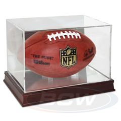 Football Display - Grandstand - UV Protection WITH Mirror Back AND Wood Base