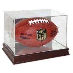 Football Display WITH Mirror Back AND Wood Base