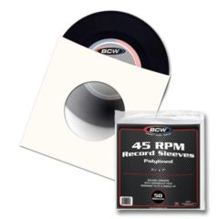 BCW PAPER RECORD SLEEVES 45 RPM- PolyLined- SQUARE -With Hole - Pack of 50