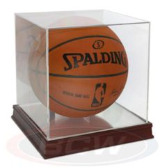 Basketball Holder - Grandstand WITH Mirror Back AND Wood Base