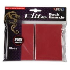 BCW Gaming DECK GUARD - ELITE - GLOSSY - RED - Pack of 80