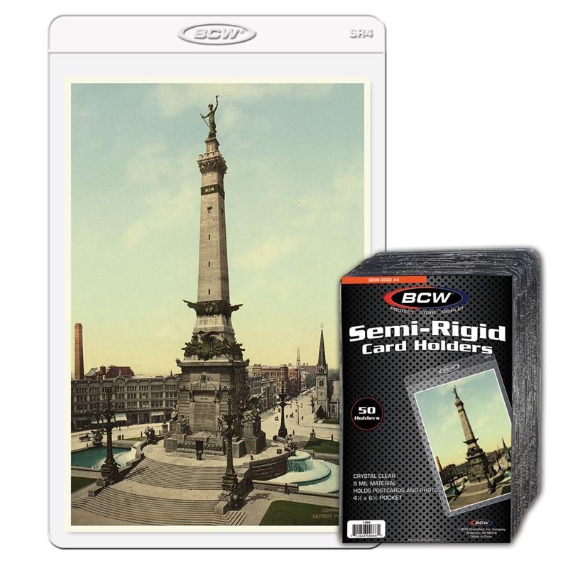 BCW SEMI-RIGID CARD HOLDER #4 - 4 1/2 X 7 1/8 - Pack of 50