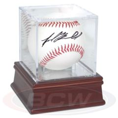 Baseball Holder - Grandstand WITH Mirror Back AND Wood Base