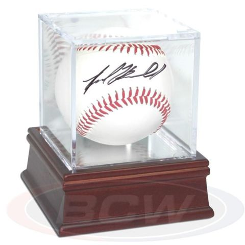 Baseball Holder WITH Mirror Back AND Wood Base