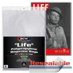 RESEALABLE LIFE MAGAZINE BAGS - 11 1/8 X 15 1/8 - Pack of 100