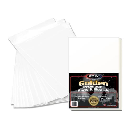 BCW PREMADE GOLDEN BAG AND BOARD - Pack of 50