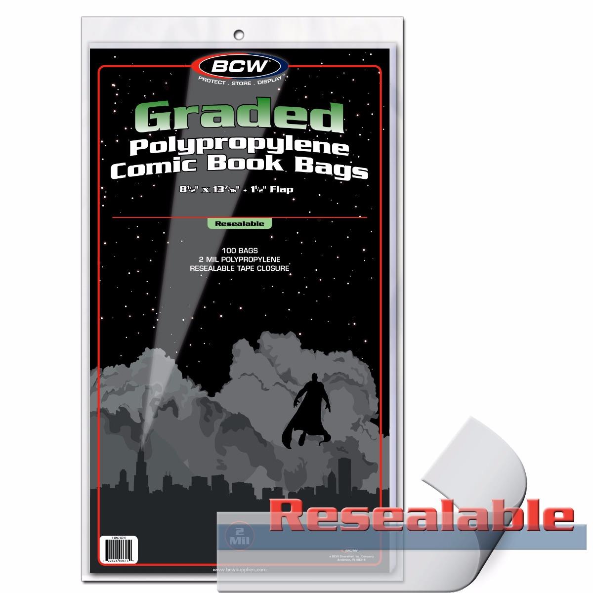 BCW GRADED COMIC BAG - RESEALABLE - 9 X 14 - 1-BAG-GC1-R - Pack of 100