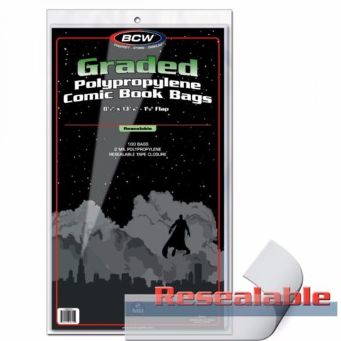 BCW GRADED COMIC BAG - RESEALABLE - 8.5 X 13 7/16 - 1-BAG-GC-R - Pack of 100