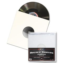 BCW PAPER RECORD SLEEVES 33 RPM POLYLINED - Square - With Hole - 50 Pack