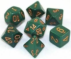 Opaque Dusty Green / Copper 7 Dice Set - CHX25415