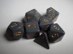 Opaque Dark Grey / Copper 7 Dice Set - CHX25420