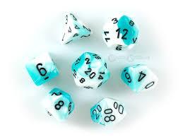 Teal-White w/Black Gemini Polyhedral 7-Die CHX26444