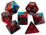 7 Red-Teal w/Gold Gemini Polyhedral Dice Set - CHX26462