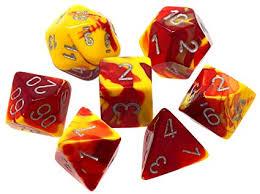 Red Yellow/silver Gemini Polyhedral 7 Die Set - CHX26450