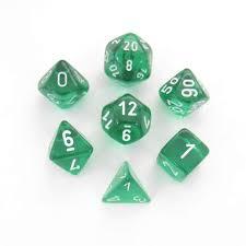 Translucent Green/White Polyhedral 7-Die Set - CHX23075