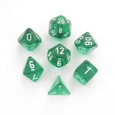Translucent Green/White Polyhedral 7-Die Set - CHX23075