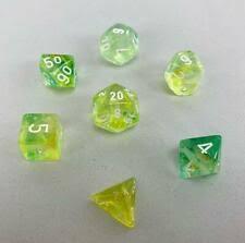 Nebula Spring/White Polyhedral 7 Dice Set - CHX30018