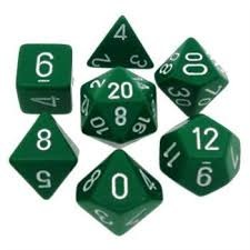 Opaque Green / White 7 Dice Set - CHX25405