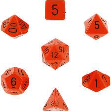 Opaque Orange / Black 7 Dice Set - CHX25403