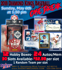 2018 Panini Diamond Kings Baseball Case Break - Sunday, May 6th, 2018 at 1:30pm