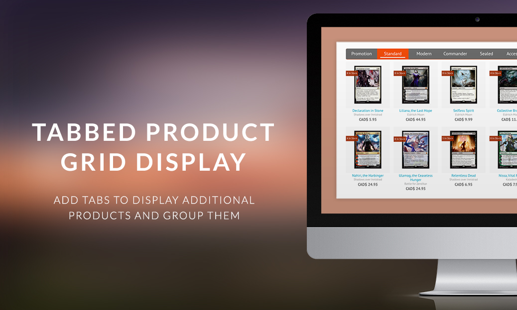 Tabbed Product Grid Display