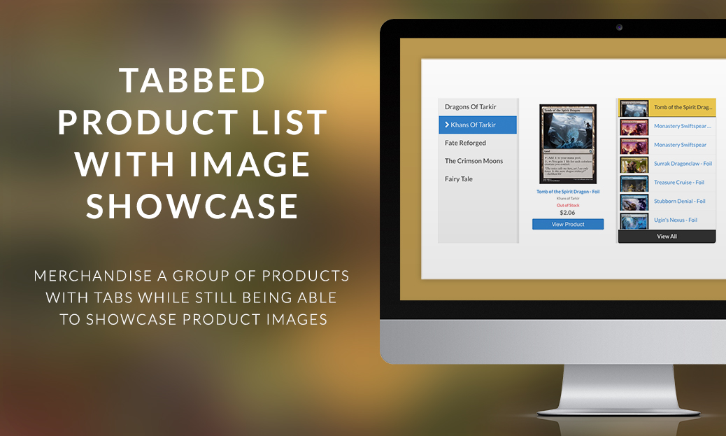Tabbed Product List with Image Showcase