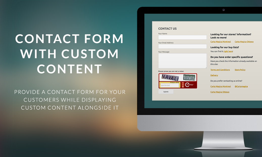 Contact Form with Custom Content