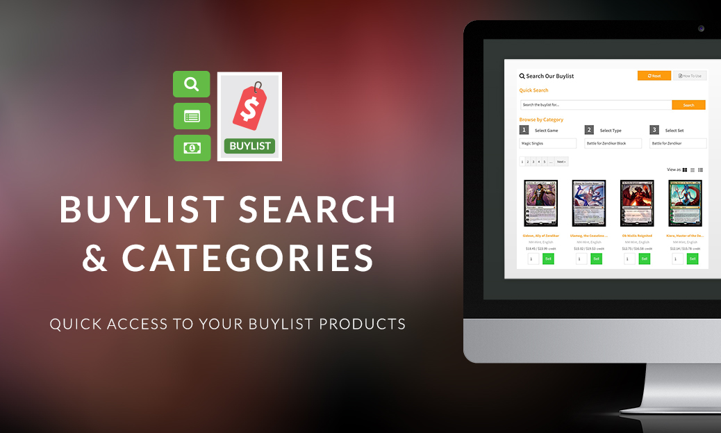 Enhanced Buylist Search and Category Widget