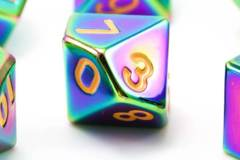 MDG Metal Polyhedral Dice Set: Torched Rainbow