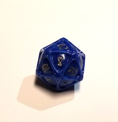 PolyHero - d20 Orb - Lapis Lazuli with Glittering Gold