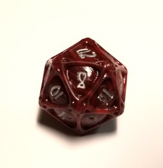 PolyHero - d20 Orb - Heartwood with Moonsilver