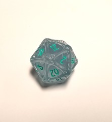 PolyHero - d20 Orb - Ethereal ice with Burning Blue