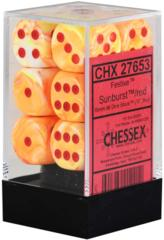12 16mm Festive Sunburst w/Red D6 Dice Set - CHX27653