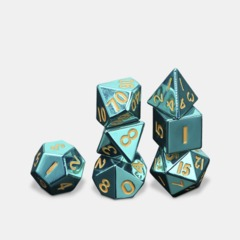 MDG Metal Polyhedral Dice Set: Turquoise with Gold Numbers